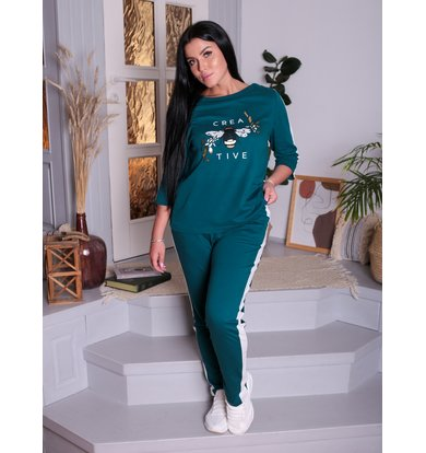 Жен. костюм арт. 17-0196 Темно-зеленый р. 46