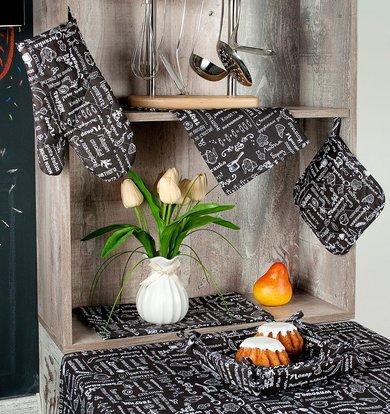 "Подушка на стул ""Правила кухни"" Горький шоколад р. 35х38"