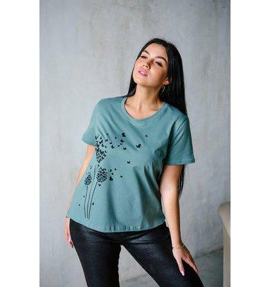 """Жен. футболка """"Одуванчик"""" Зеленый р. 44"""