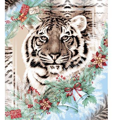 """Вафельное полотенце """"Год тигра"""" Бежевый р. 50х60"""